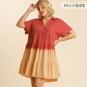 Umgee Plus Strawberry Dip Dye Collar Tiered Dress